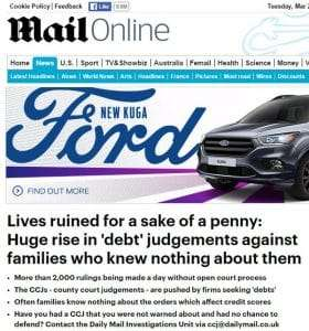 Daily Mail huge rise in CCJ
